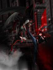 Bilder Dämonen Schlägerei Rotschopf Fantasy Mädchens