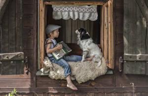壁纸,,犬,男孩,坐,2 兩,窗,儿童,動物