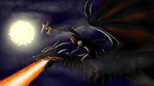 Bureaubladachtergronden Draken Krijger Nacht Maan Fantasy
