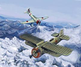 Hintergrundbilder Flugzeuge Jagdflugzeug Gezeichnet Japanisches Russische Zwei I-153 Chaika, Nakajima Ki-27, Halkin-Gol, 1939 Militär