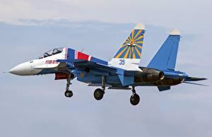 Hintergrundbilder Flugzeuge Jagdflugzeug Soukhoï Su-30 Russisches Abheben Su-30CM Luftfahrt