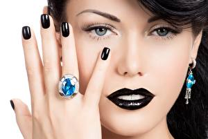 Pictures Fingers Hands Manicure Makeup Black Face Ring Modelling Glance Nose