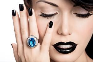 Bilder Finger Schminke Maniküre Ring Hand Schwarz Gesicht Model junge frau