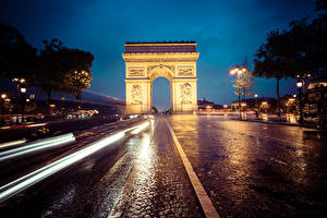 Wallpapers France Roads Arch Night time Street Riding Paris Arc de Triomphe Cities