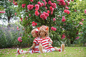 Wallpaper Parks Roses Doll 2 Little girls Shrubs Sit Grugapark Essen Nature