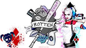 Picture Harley Quinn hero Margot Robbie Suicide Squad 2016 Blonde girl Baseball bat White background film Celebrities Girls