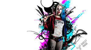 Image Harley Quinn hero Margot Robbie Suicide Squad 2016 Blonde girl Baseball bat White background film Celebrities Girls