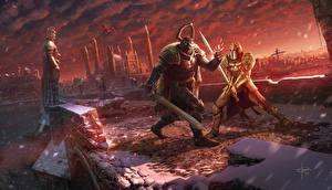 Bilder Illustrationen für Bücher Krieger Brücken Zwei Rüstung Schwert Schlägerei  Fantasy