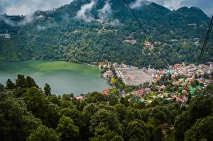 Desktop wallpapers India Houses Lake Forest Nainital Uttarakhand Cities