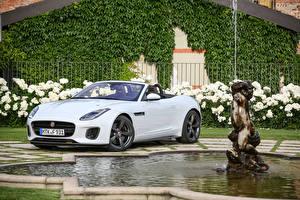 Wallpaper Jaguar White Metallic Cabriolet 2017 F-Type 400 Sport Convertible Worldwide automobile