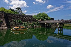 壁纸、、日本、城、川、橋、ボート、Osaka Castle、都市