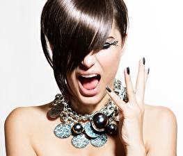 Hintergrundbilder Schmuck Halsketten Schreien Haar Mädchens