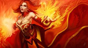 Wallpapers Lina DOTA 2 Flame Sorcery Redhead girl Games Girls Fantasy