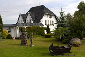 Bakgrunnsbilder Litauen Hus Skulptur Granslekten Kretinga en by