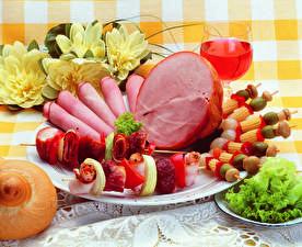Papel de Parede Desktop Produtos de carne Presunto Vinho Chachlik Hortaliça Prato Design comida