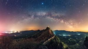 Fotos Gebirge Himmel Stern Chinesische Mauer Landschaftsfotografie