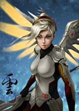 Wallpaper Overwatch Angels Mercy Games Fantasy Girls