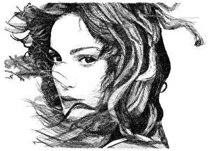Fotos Gezeichnet Gesicht Schwarz weiß Weißer hintergrund Haar junge Frauen