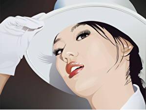 Fotos Gezeichnet Vektorgrafik Gesicht Der Hut Handschuh