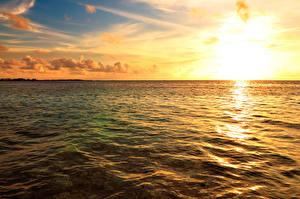 Bilder Portugal Meer Morgendämmerung und Sonnenuntergang Himmel Horizont Maldives Natur