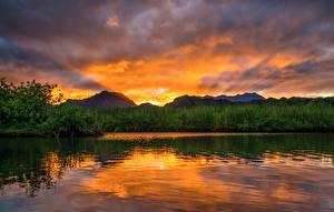 Bilder Flusse Sonnenaufgänge und Sonnenuntergänge Himmel Vereinigte Staaten Hawaii Strauch Natur