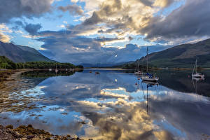 Pictures Scotland Lake Sky Sailing Boats Clouds Reflection Loch Leven Nature