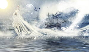 Wallpapers Ships Sailing Water Ghost Queen of the sea Fantasy Girls
