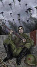 Bilder Soldaten Gezeichnet Flugzeuge Gewehr Russischer The battle of Stalingrad Heer