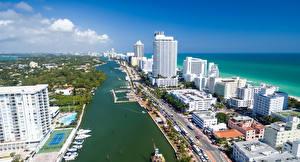 Hintergrundbilder Vereinigte Staaten Haus Schiffsanleger Florida Miami Straße Bucht Städte