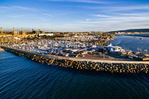 Desktop hintergrundbilder Vereinigte Staaten Bootssteg Küste Motorboot Yacht Kalifornien Bucht Redondo Beach Städte