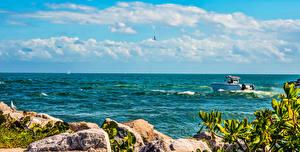 Hintergrundbilder USA Motorboot Himmel Ozean Florida Miami Wolke Natur