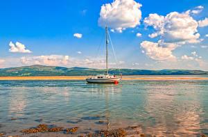 Wallpaper United Kingdom Sky Sailing Yacht Clouds Aberdyfi Nature