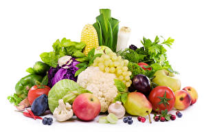 Wallpapers Vegetables Fruit Apples Grapes Cabbage Pears Tomatoes Mushrooms White background Food