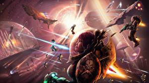 Fonds d'écran Guerrier Monde fantastique Bataille Navire Fantasy Сosmos Filles