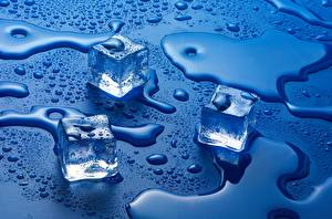Wallpaper Water Ice Drops Blue