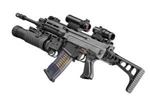 Photo Assault rifle Closeup White background grenade launcher, cz 805 bren A2 military