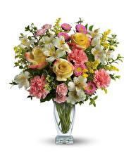 Papel de Parede Desktop Buquê Rosa Dianthus Alstroemeria Fundo branco Vaso flor