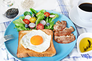 Picture Bread Vegetables Ham Breakfast Fried egg Plate Food