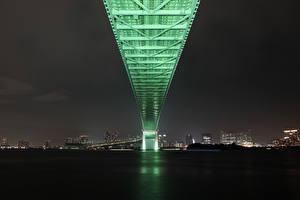 Fondos de Pantalla Puentes Japón Tokio Noche Rainbow Bridge Ciudades