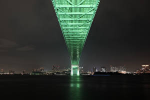 Picture Bridges Japan Tokyo Night time Rainbow Bridge Cities