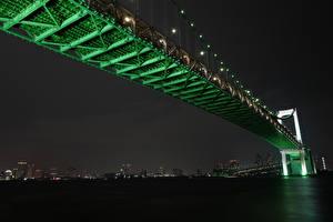 Pictures Bridges Japan Tokyo Night time Rainbow Bridge Cities