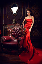 Pictures Brown haired Wing chair Frock Mirror Luxury Girls