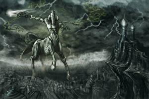 Hintergrundbilder Kentauren Monsters Blitze Kriegssense Fantasy