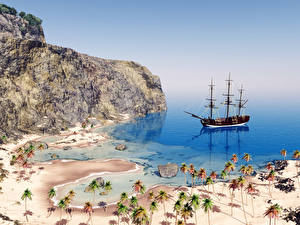 Picture Coast Ships Sailing Stones Cliff Palm trees 3D_Graphics