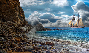 Wallpaper Coast Sky Waves Ship Sailing Stone Clouds Nature