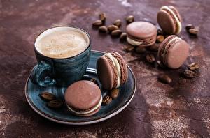 Fotos Kaffee Cappuccino Macaron Tasse Untertasse Lebensmittel