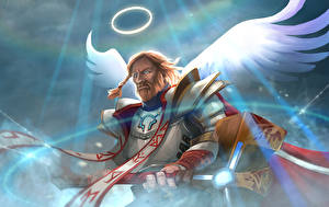 Pictures DOTA 2 Omniknight Angels Men Wings War hammer Halo (religious) Games Fantasy