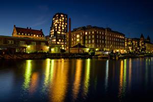 Bilder Dänemark Haus Seebrücke Kopenhagen Bucht Nacht Städte