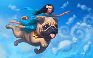 Hintergrundbilder Hunde Magische Tiere Mops (Hunderasse) Flug 2 Fantasy