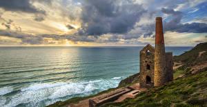 Bilder England Küste Wasserwelle Ruinen Meer Himmel Wolke Churchtown Natur